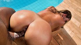 shaved slut ass fucked in the pool