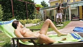 shaved whore got cock in her ass in the pool