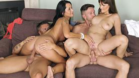 shaved milf gets group fuck