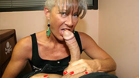 pretty milf gets cum on face outside