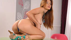 shaved teen in hot lingerie plays with dildo