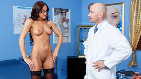 brunette slut fucks in doggy-style with doctor