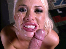 Blonde babe Summer Brielle takes a fat load all over her face