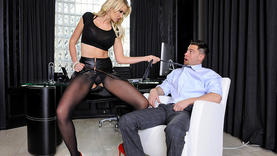 high heels and milf make handjob