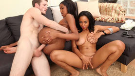 shaved lesbians in threesome fucking