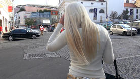 cute blond whore outside