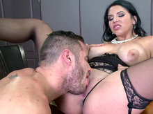 Missy Martinez spread out on the desk and got her pussy munched on