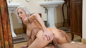 blonde granny gets cum on her face
