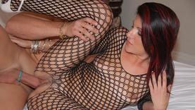 hairy milf in lingerie gets huge dildo