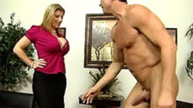 big tits blonde milf in office
