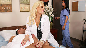 nice blonde girl in lingerie with doctor