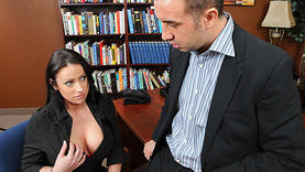 brunette milf takes cock so deep in the office