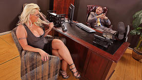 big tits white hair milf in the office