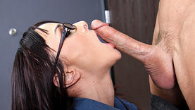 naughty cytherea in glasses gets cum on her face